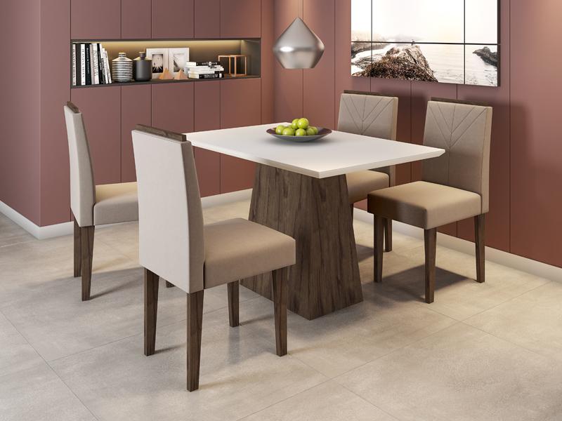 Conjunto de Mesa Jasmin 1,20m com 4 Cadeiras Amanda  Alamo/Off White/Veludo Marrom Rose - FdECOR