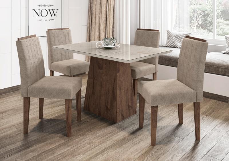 Conjunto de Mesa Jasmin 1,20m com 4 Cadeiras Ana  Alamo/Carrara/Animalle Marrom Claro - FdECOR