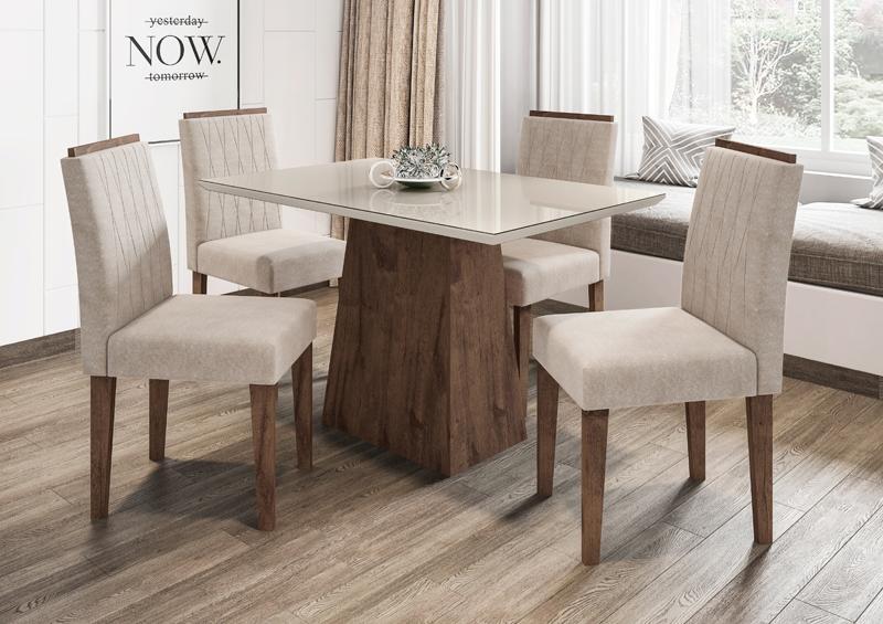 Conjunto de Mesa Jasmin 1,20m com 4 Cadeiras Ana  Alamo/Off White/Animalle Bege - FdECOR