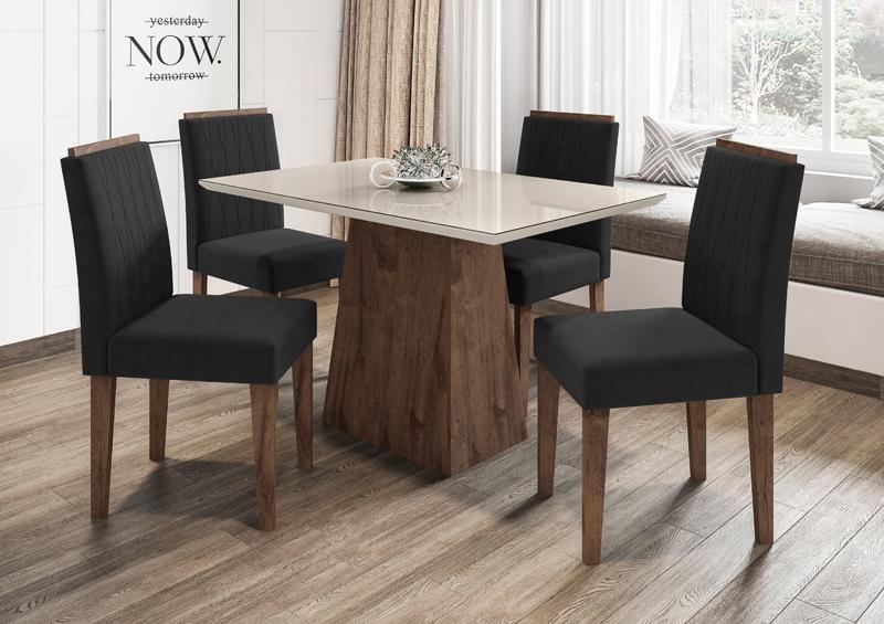 Conjunto de Mesa Jasmin 1,20m com 4 Cadeiras Ana  Alamo/Off White/Veludo Preto - FdECOR