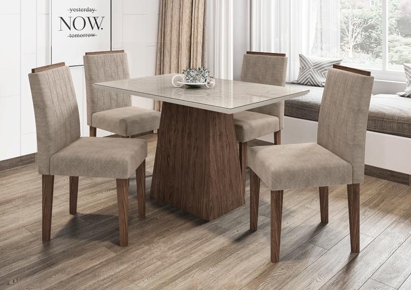 Conjunto de Mesa Jasmin 1,20m com 4 Cadeiras Ana  Castanho/Carrara/Animalle Marrom Claro - FdECOR