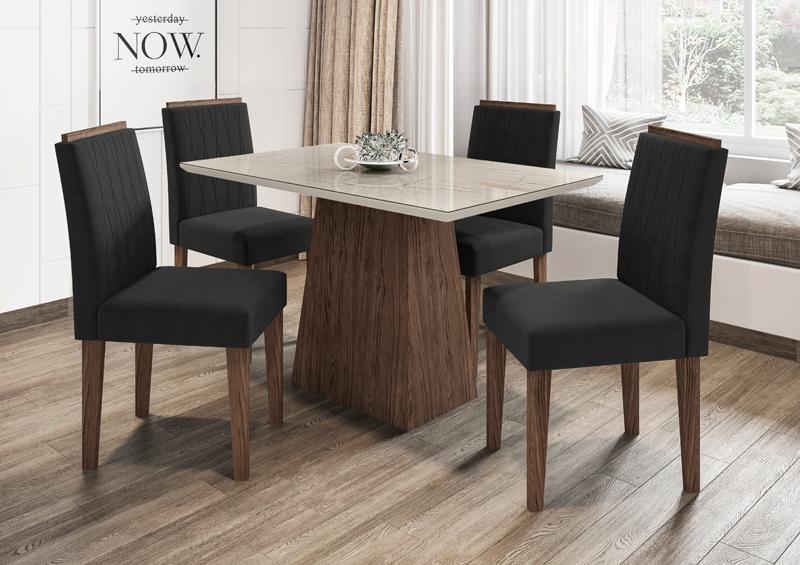 Conjunto de Mesa Jasmin 1,20m com 4 Cadeiras Ana  Castanho/Carrara/Veludo Preto - FdECOR