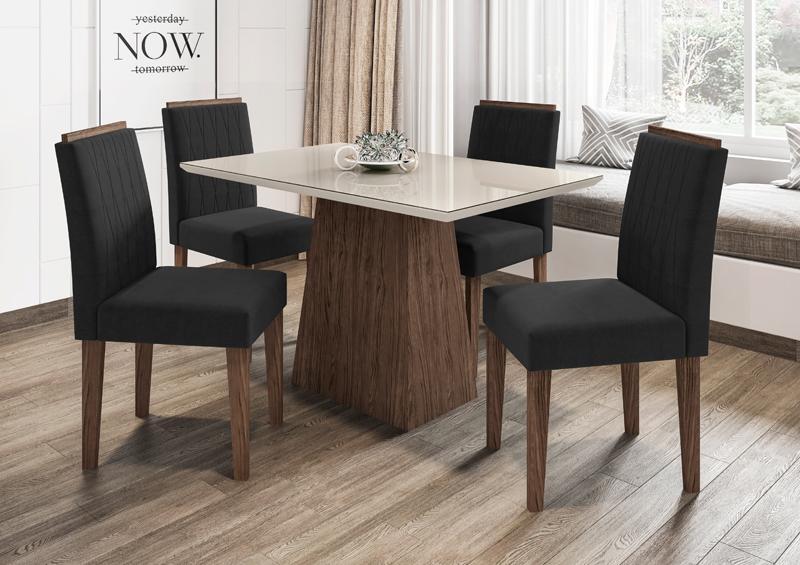 Conjunto de Mesa Jasmin 1,20m com 4 Cadeiras Ana Castanho/Off White/Veludo Preto - FdECOR
