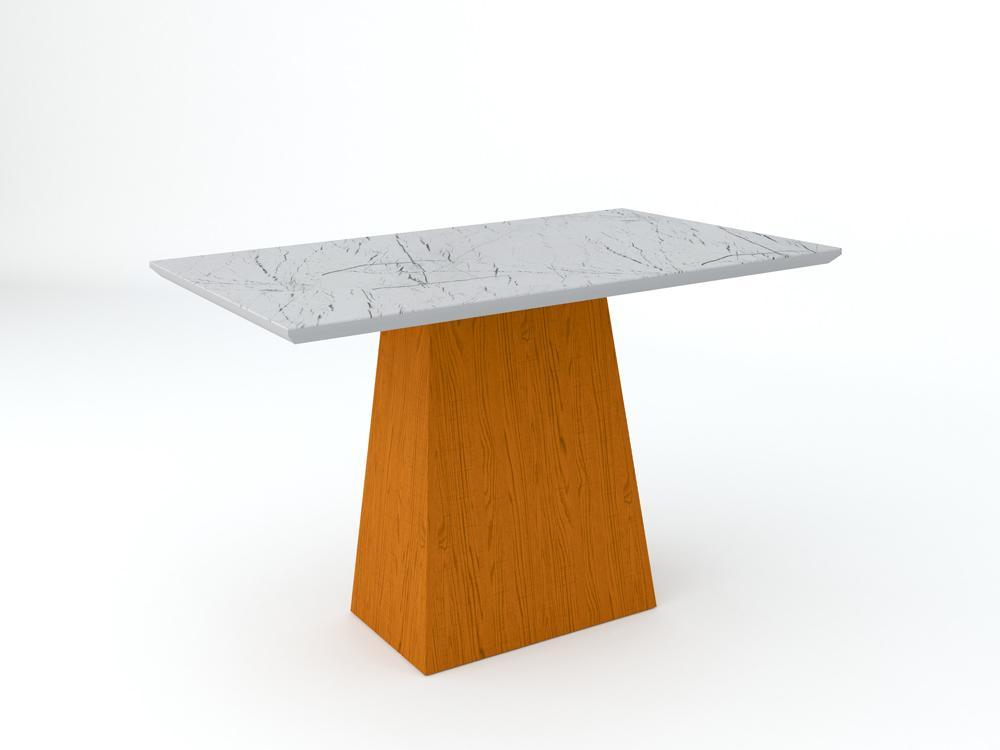 Conjunto de Mesa Jasmin 1,20m com 4 Cadeiras Ana  Ypê/Carrara/Veludo Preto - FdECOR