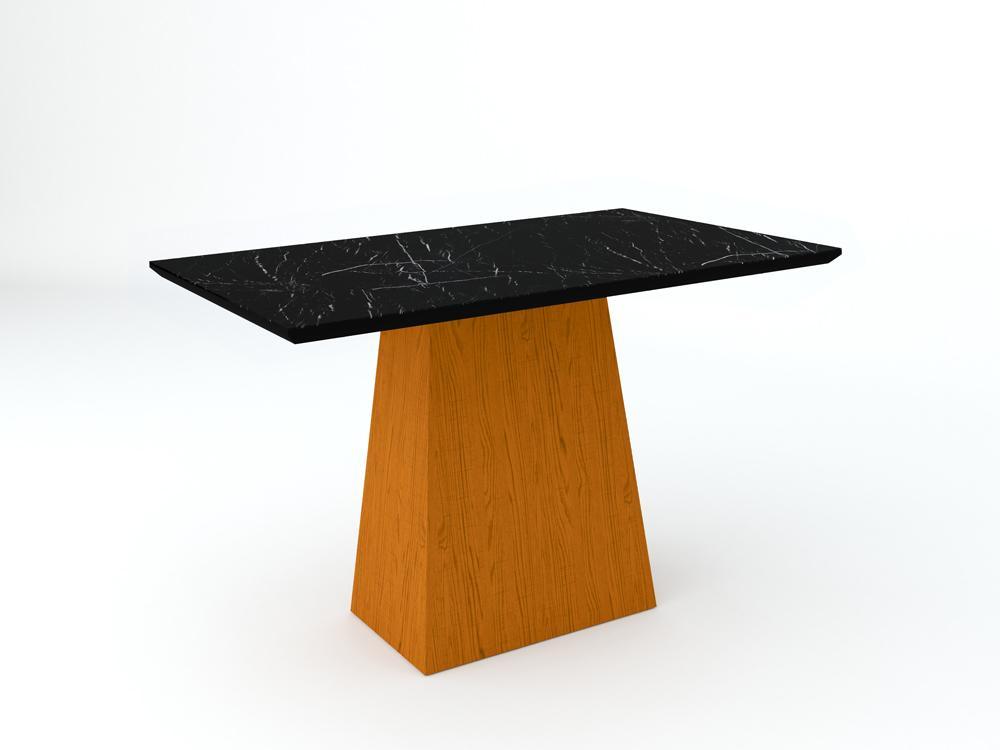 Conjunto de Mesa Jasmin 1,20m com 4 Cadeiras Ana  Ypê/Nero/Veludo Preto - FdECOR