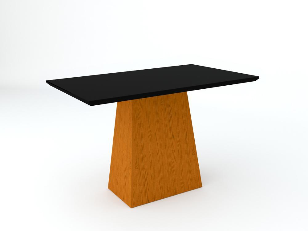 Conjunto de Mesa Jasmin 1,20m com 4 Cadeiras Ana  Ypê/Preto/Veludo Preto - FdECOR