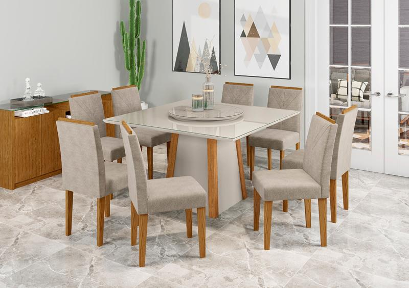 Conjunto de Mesa Julia 1,35m com 8 Cadeiras Amanda Ypê/Off White/Carrara/Animalle Marrom Claro - FdECOR