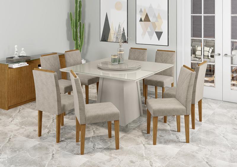 Conjunto de Mesa julia 1,35m Tampo Giratório com 8 Cadeiras Amanda Off White/Carrara/Ypê/Animalle Marrom Claro - FdECOR