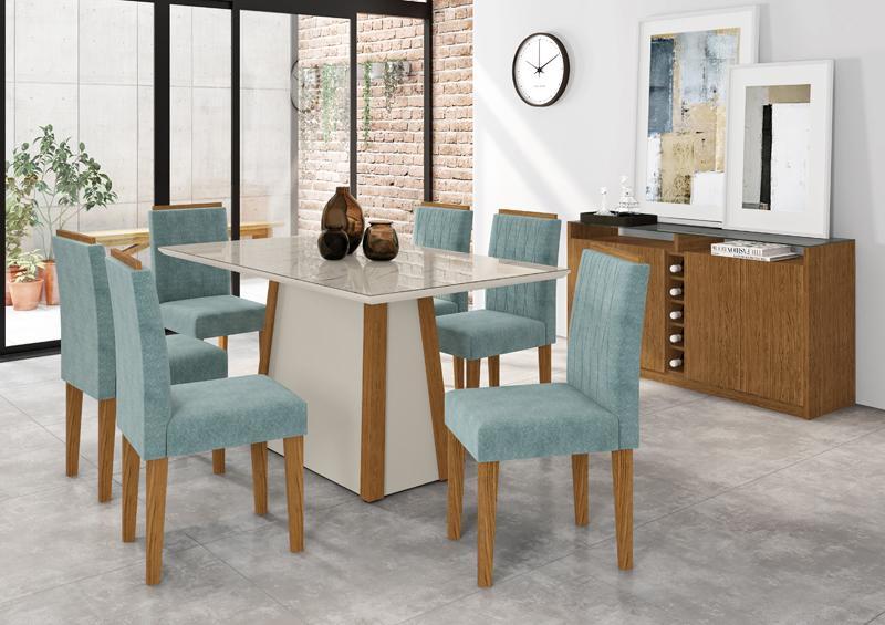 Conjunto de Mesa julia 1,60m com 6 Cadeiras Ana  Ypê/Off White/Carrara/Pena Azul Claro - FdECOR