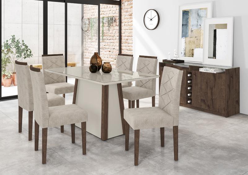 Conjunto de Mesa julia 1,60m com 6 Cadeiras Caroline  Castanho/Off White/Animalle Bege - FdECOR