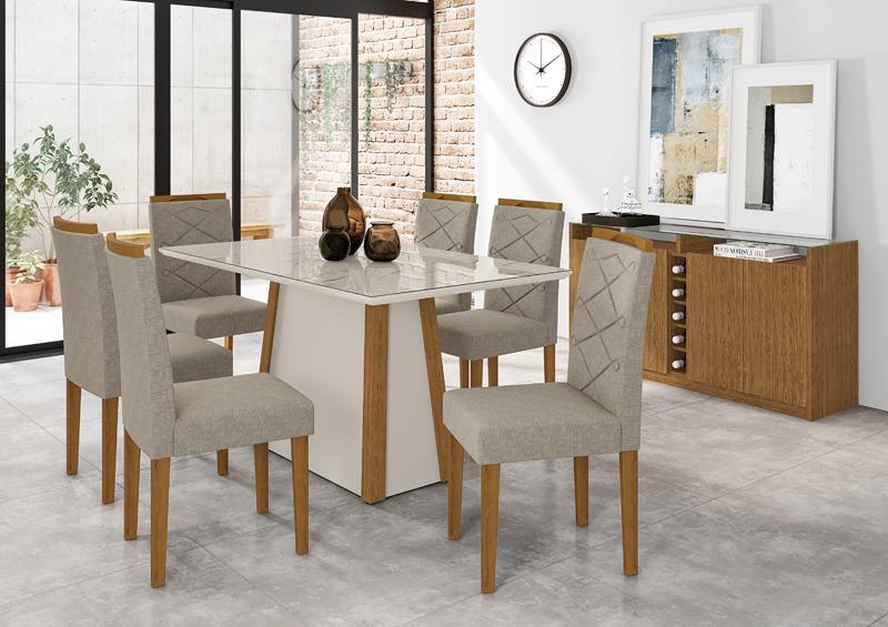 Conjunto de Mesa julia 1,60m com 6 Cadeiras Caroline  Ypê/Off White/Carrara/Veludo Linho Marrom Claro - FdECOR