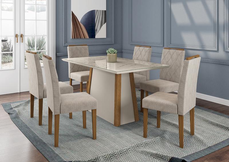 Conjunto de Mesa julia 1,60m com 6 Cadeiras Isabela  Ypê/Off White/Carrara/Animalle Bege - FdECOR