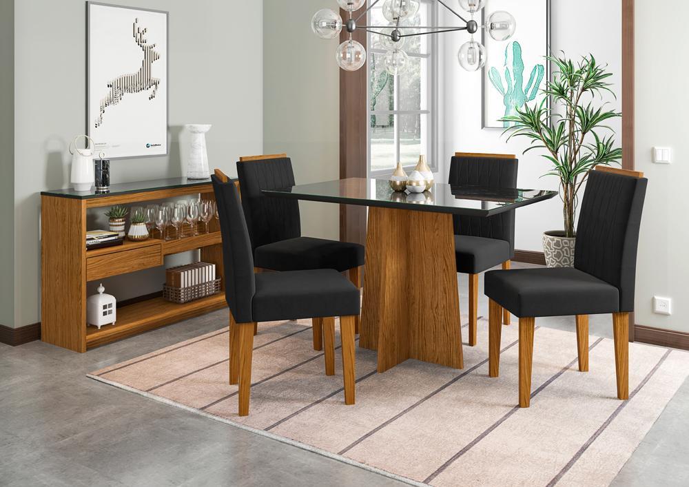 Conjunto Mesa Ana 1,20m com 4 cadeiras Ana Ypê/Nero/Veludo Preto - FdECOR
