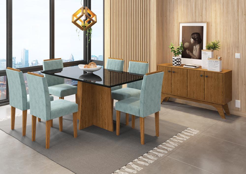 Conjunto Mesa Ana 1,60m com 6 cadeiras Amanda Ypê/Nero/Pena Azul Claro - FdECOR