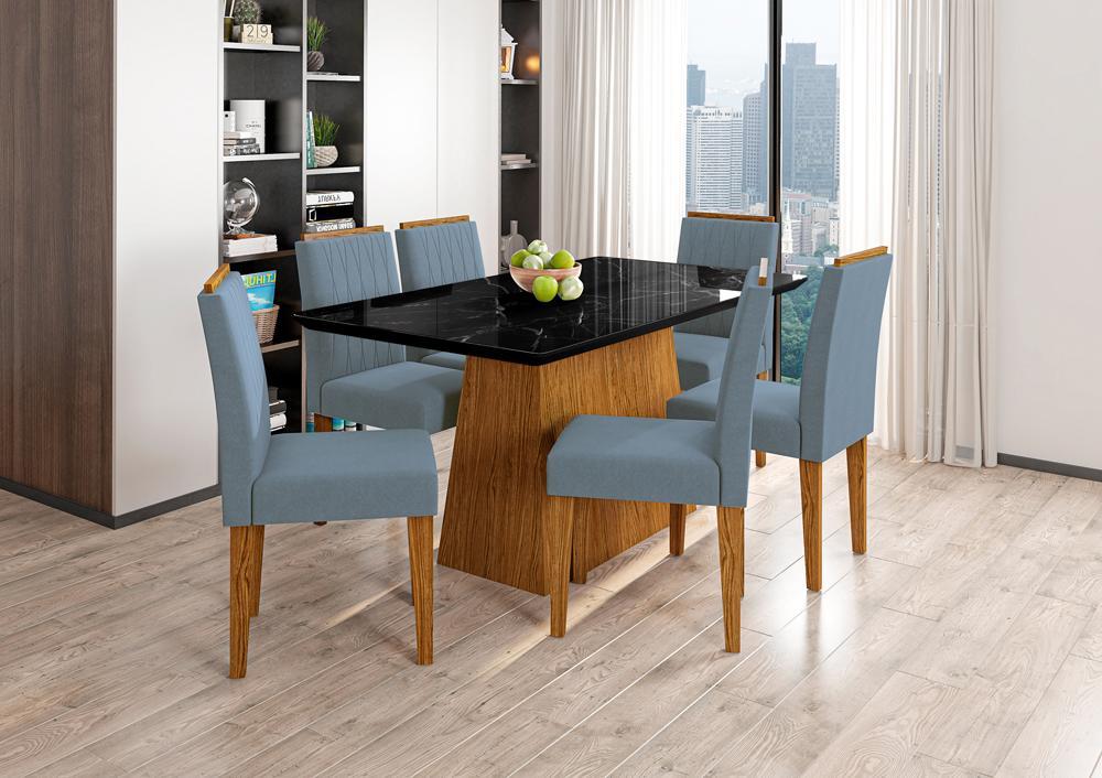 Conjunto Mesa Bárbara 1,60m com 6 cadeiras Ana Ypê/Nero/Pena Azul Claro - FdECOR