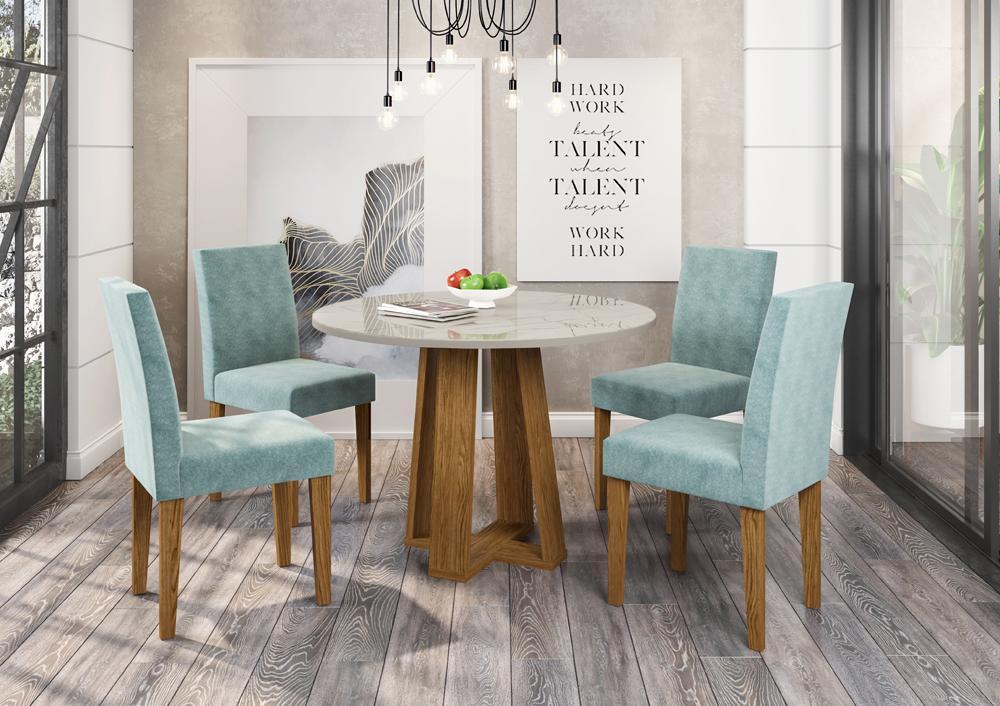 Conjunto Mesa Isabela 1,00m com 4 cadeiras Giovana Ypê/Carrara/Pena Azul Claro - FdECOR