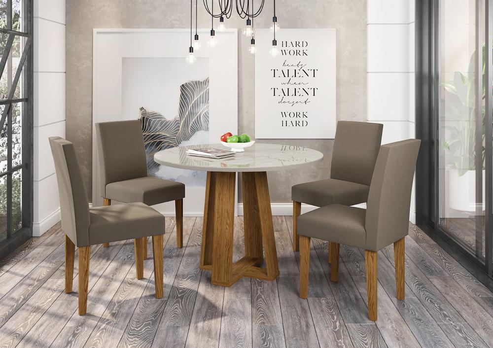 Conjunto Mesa Isabela 1,00m com 4 cadeiras Giovana Ypê/Carrara/Veludo Marron Escuro - FdECOR