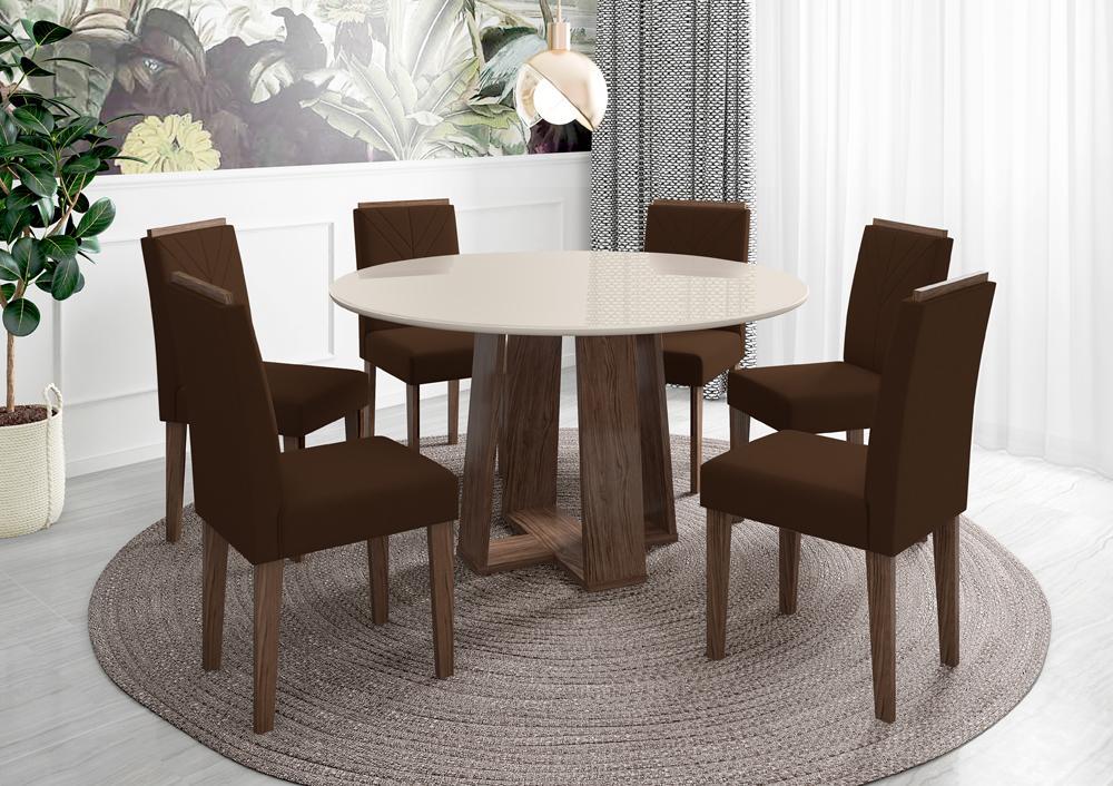 Conjunto Mesa Isabela 1,35m com 6 cadeiras Amanda Castanho/Offwhite/Veludo Marrom escuro - FdECOR