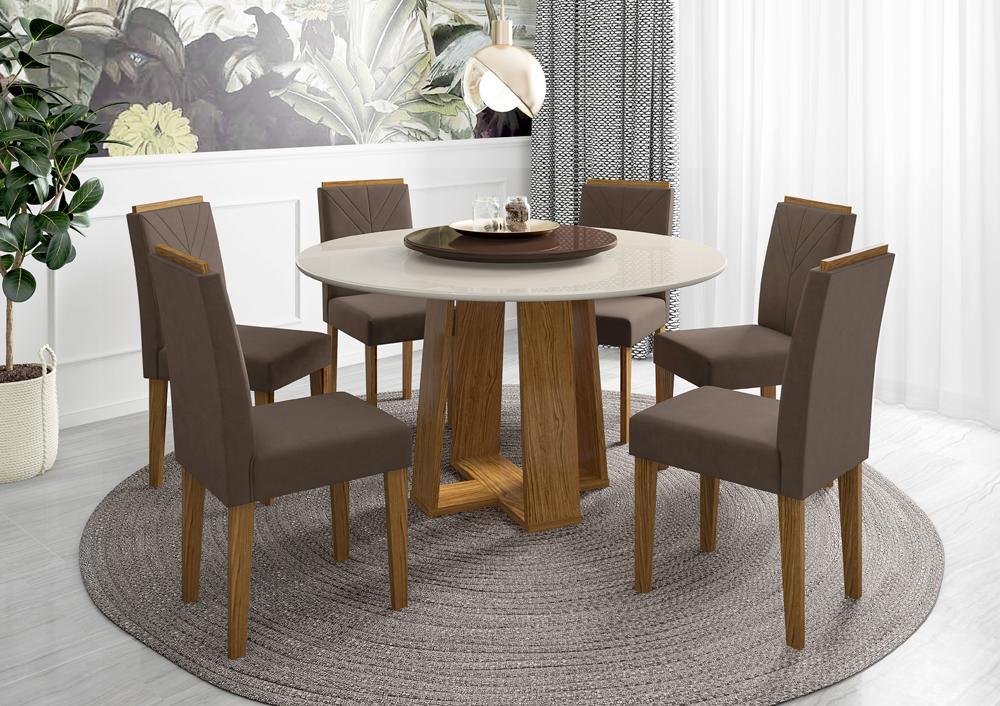 Conjunto Mesa Isabela 1,35m com 6 cadeiras Amanda e Tampo Giratório Ypê/Offwhite/Café/Veludo Marron Escuro - FdECOR