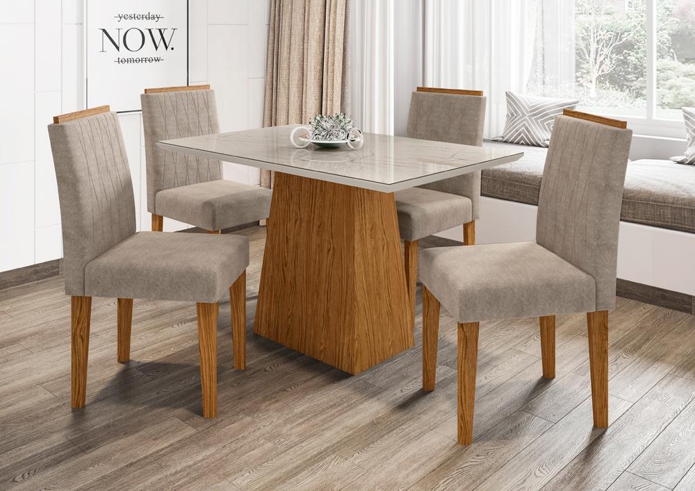 Conjunto Mesa Jasmin 1,20m com 4 cadeiras Ana Ypê/Carrara/Animalle Marron Claro - FdECOR