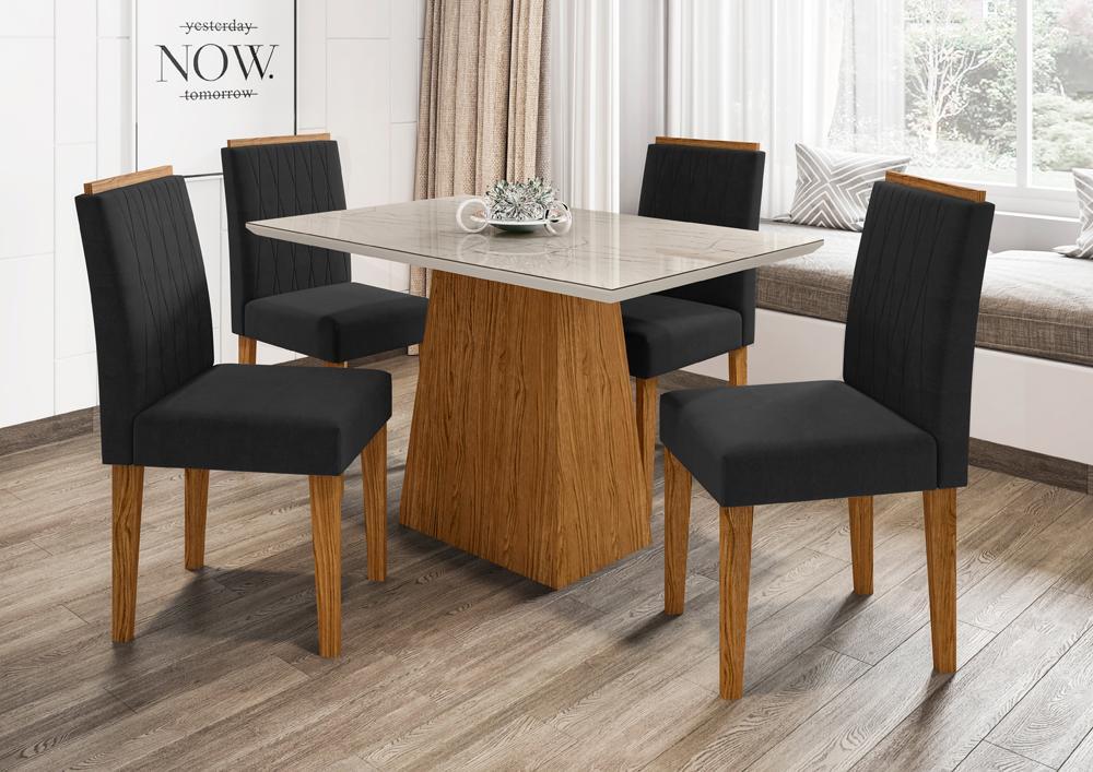 Conjunto Mesa Jasmin 1,20m com 4 cadeiras Ana Ypê/Carrara/Veludo Preto - FdECOR