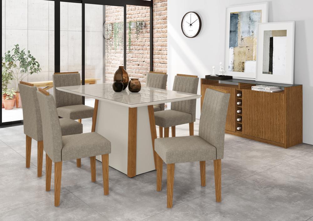 Conjunto Mesa Júlia 1,60m com 6 cadeiras Ana Ypê/Carrara/Linho Marron Claro - FdECOR