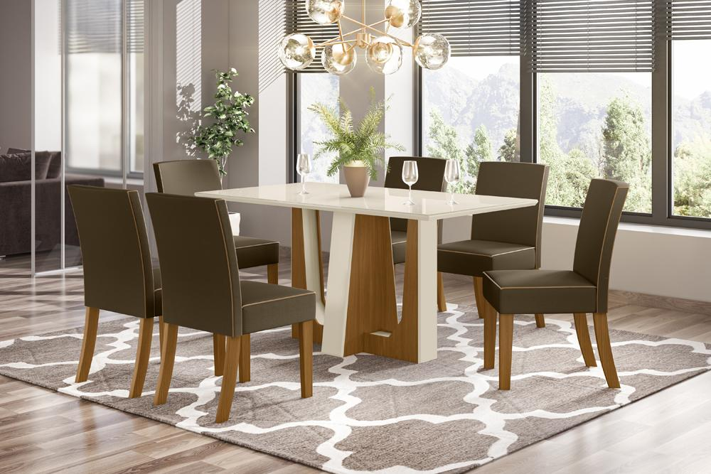 Conjunto Sala de Jantar com Mesa Alfa 1600 e 6 Cadeiras Maris Bege - FdECOR