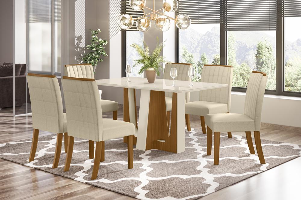 Conjunto Sala de Jantar com Mesa Alfa 1600 e 6 Cadeiras Tauá Linho - FdECOR