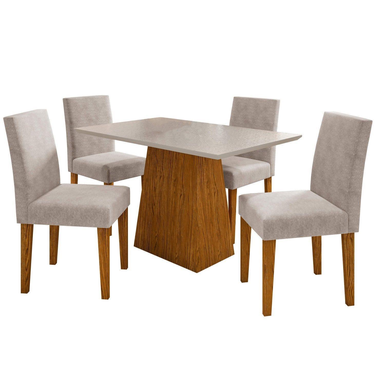 Conjunto Sala de Jantar Mesa com 4 Cadeiras Estofadas Manu Ypê/Off White/Ypê Animalle Bege - FdECOR