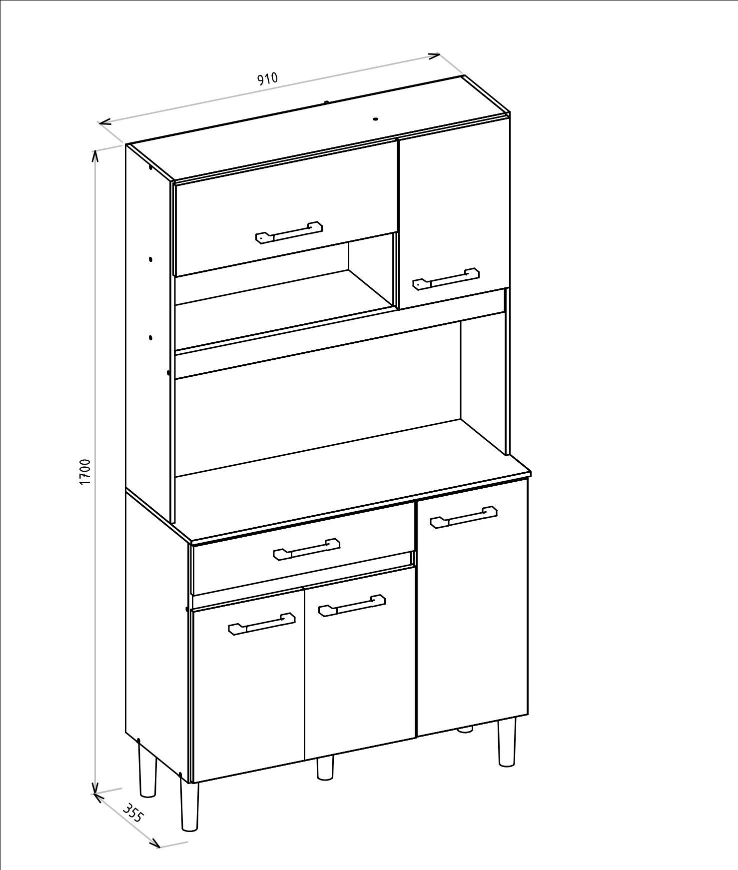 Cozinha Compacta 5 Portas Kit Magazin 90 Branco/Preto - Nicioli