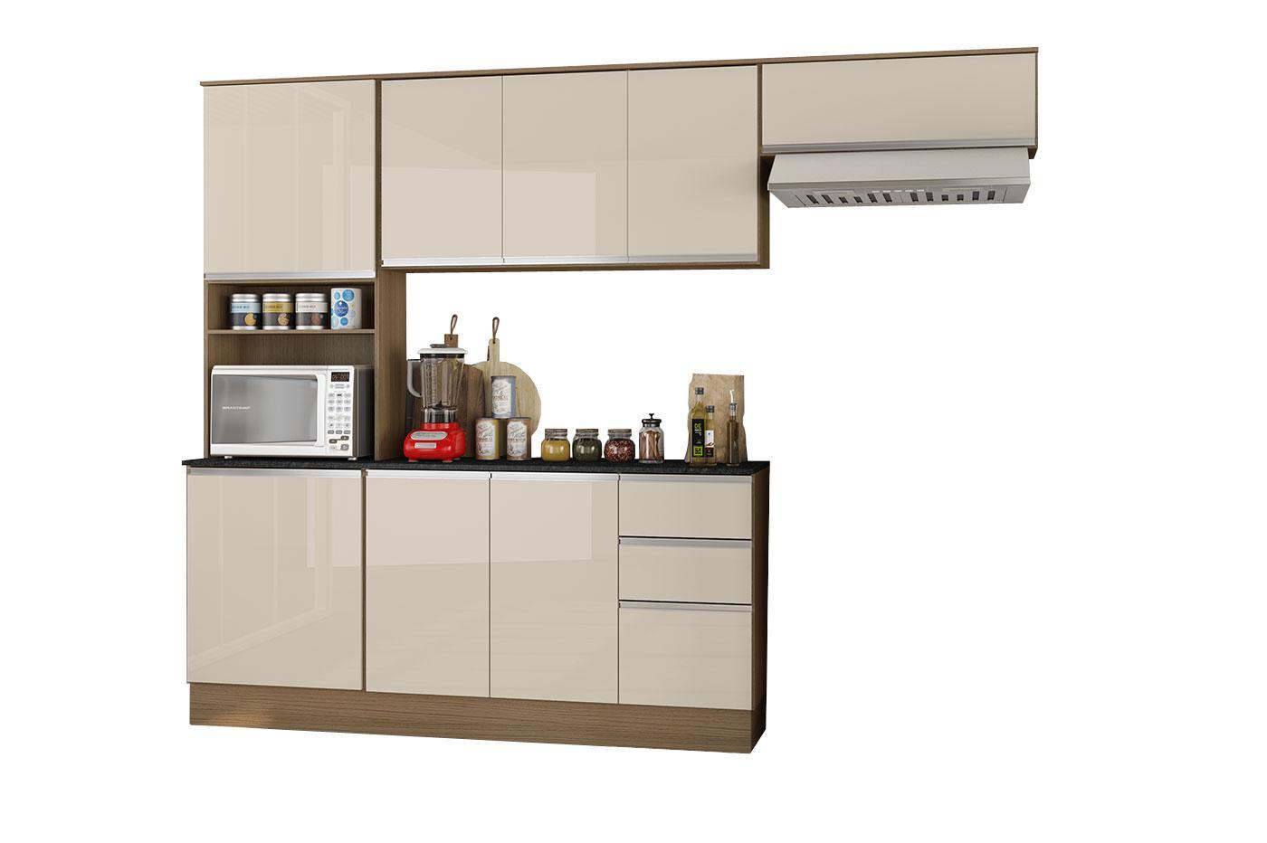 Cozinha Compacta 9 Portas 2 Gavetas Com Balcão Tampo Paris Carvalho/Off White - Poliman