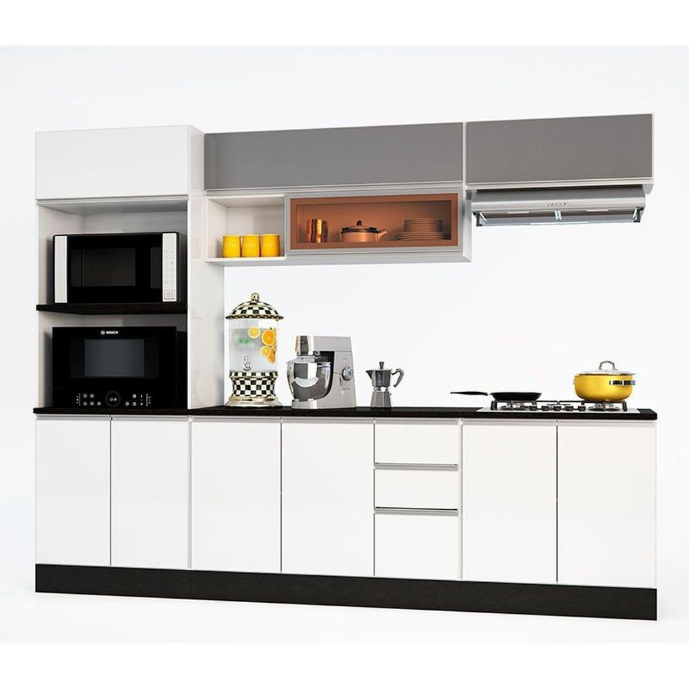 Cozinha Completa 8 Portas 1 Gaveta Ibiza Concreto/Branco - Poliman