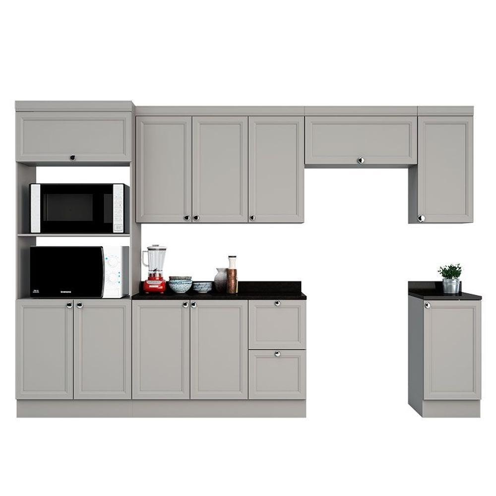 Cozinha Modulada 11 Portas 2 Gavetas Com Nicho Para Forno E Micro-Ondas Joy Fumê Fumê - Poliman