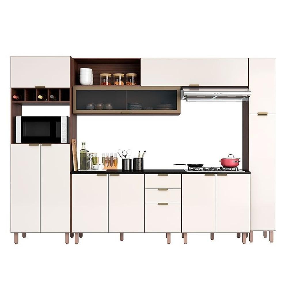 Cozinha Modulada 11 Portas 3 Gavetas Nogueira/Off White - Poliman