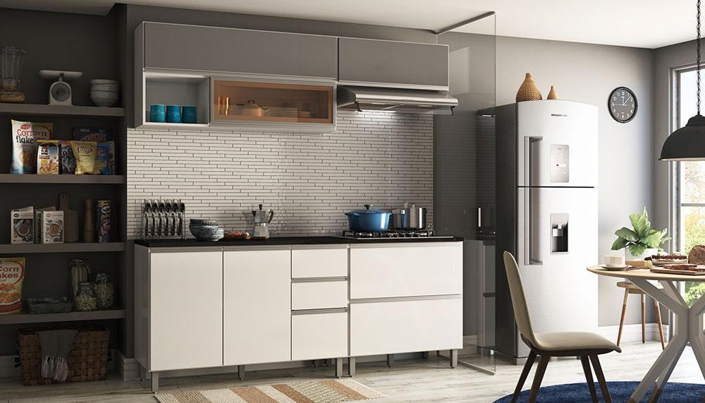 Cozinha Modulada 4 Peças 7 Portas 3 Gavetas Evidence Branco/Prata - Poliman