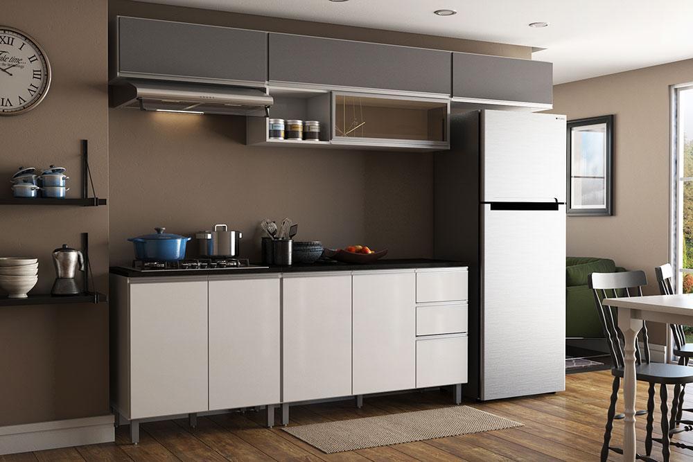 Cozinha Modulada 5 Peças 9 Portas 2 Gavetas Evidence Branco/Prata - Poliman