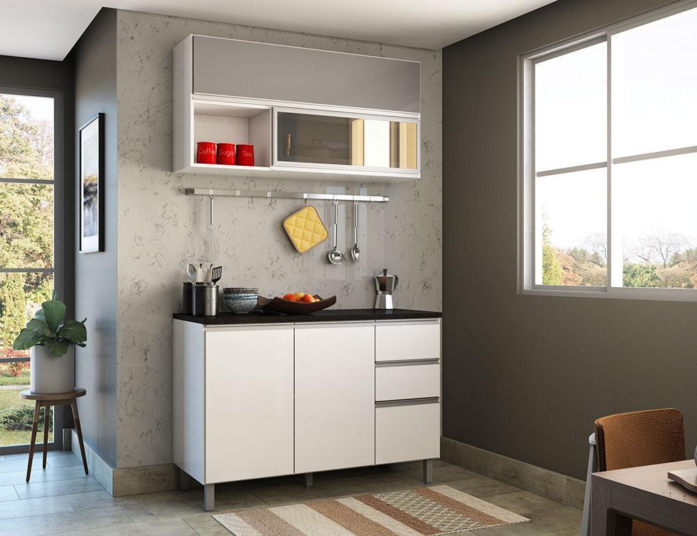 Cozinha Modulada 5 Portas 2 Gavetas Evidence Branco/Prata - Poliman