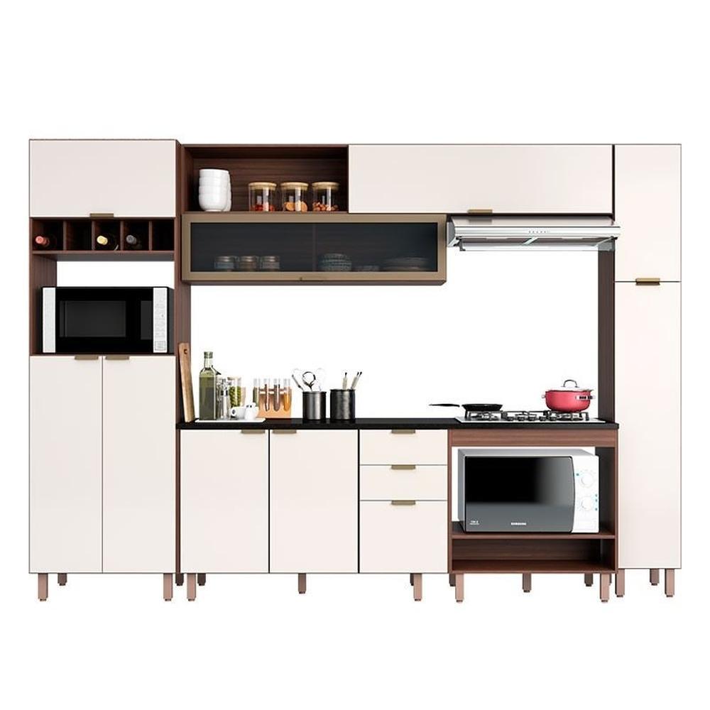 Cozinha Modulada 9 Portas 3 Gavetas Flair Nogueira/Off White - Poliman