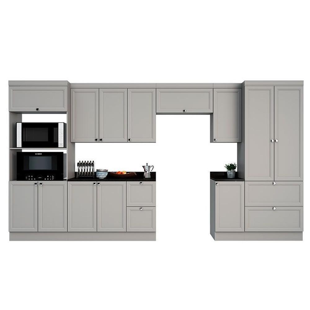 Cozinha Modulada Completa 13 Portas 4 Gavetas Com Nicho Para Forno E Micro-Ondas Joy Fumê Fumê - Poliman