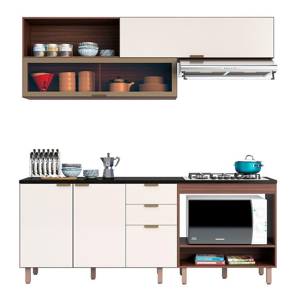 Cozinha Modulada Flair 4 Portas 3 Gavetas Nogueira/Off White - Poliman