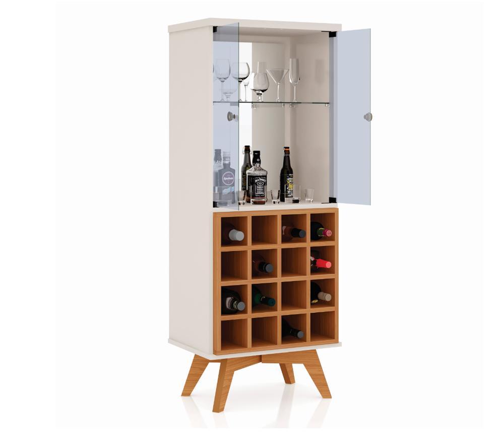 Cristaleira Adega 100% Mdf Com 2 Portas De Vidro C711 Off White/Freijó                                     - Dalla Costa