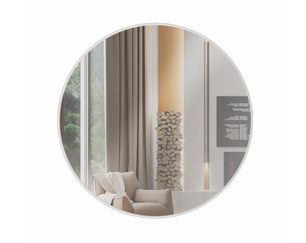 Espelho Painel Decorativo Redondo  ES1160Cm Off White/ Espelho - Dalla Costa