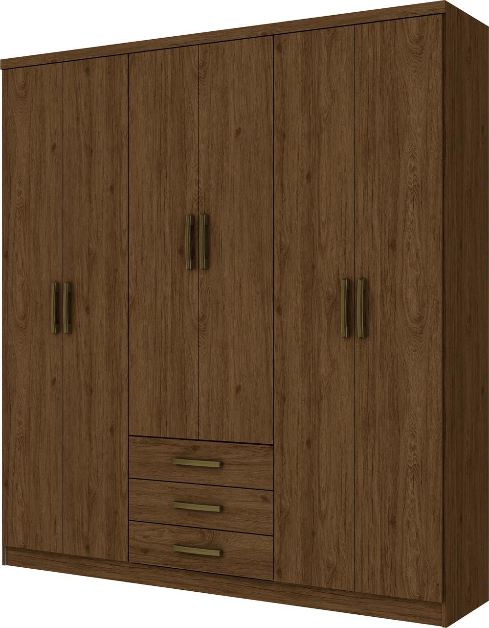 Guarda Roupa Caju 6 Portas Castanho HP - Henn