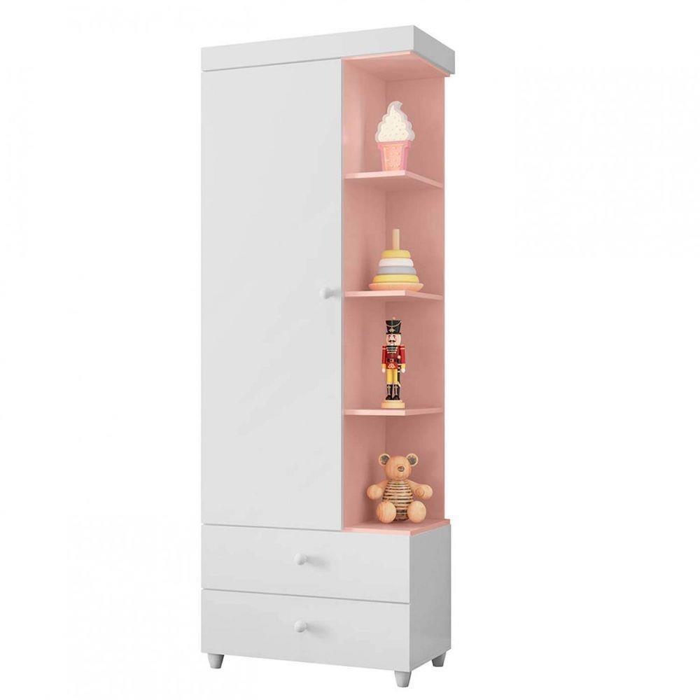 Guarda Roupa Cristal 1 porta  Branco/Rosê - Peternella