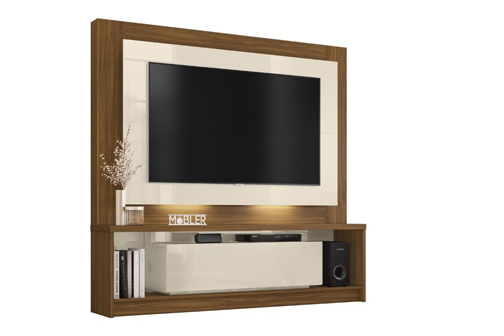 Home Supremo para TV de até 58 polegadas Freijó/Off White - Mobler
