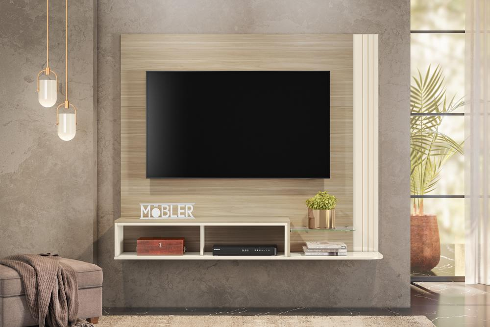 Home Suspenso Pequim para TV de até 55 polegadas Macchiato/Off White - Mobler