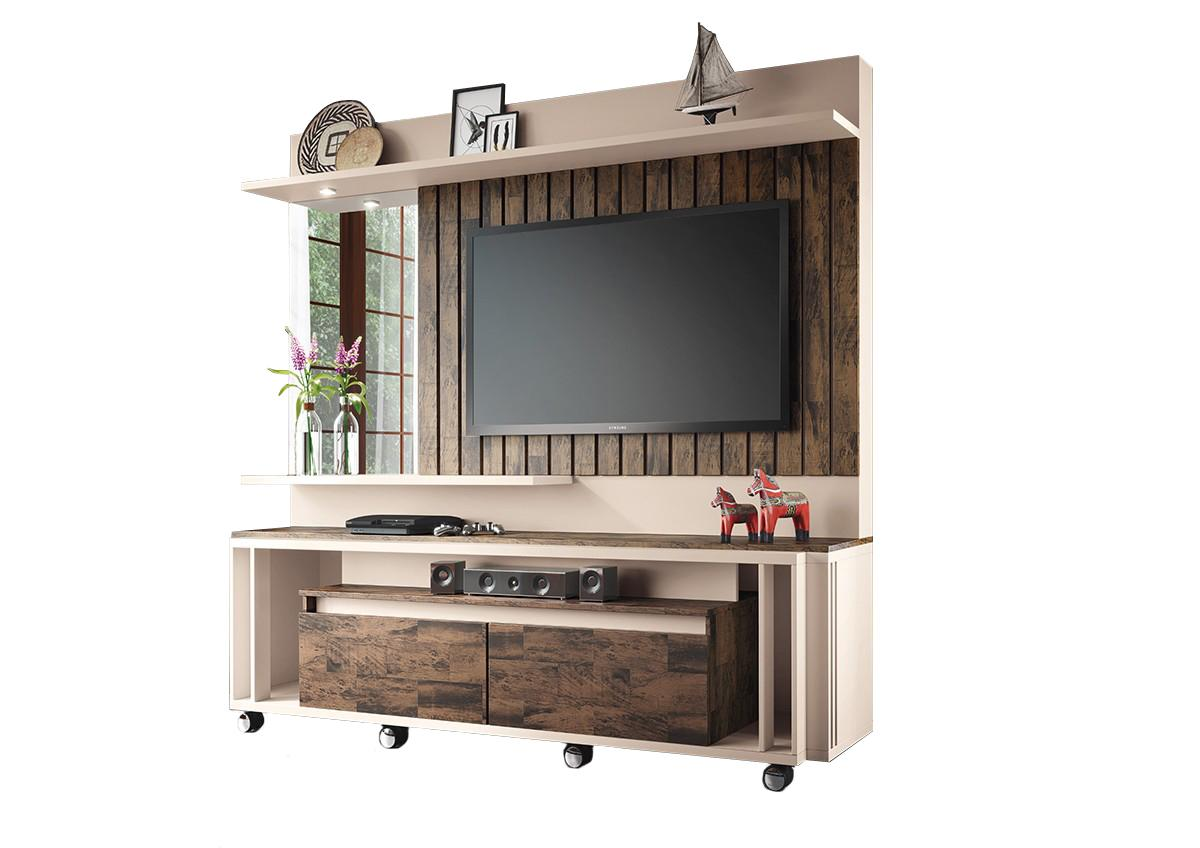 Home Theater Eclipse Off White / Deck  - HB Móveis