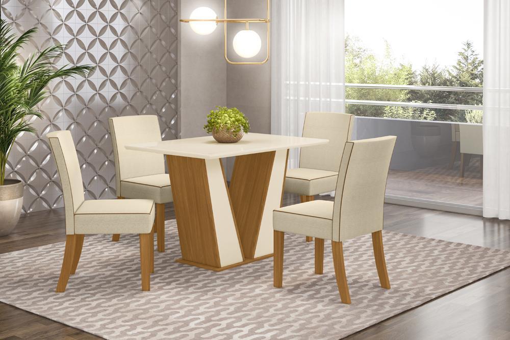 Jogo de Mesa Garda 1200 e 4 Cadeiras Maris Nature/Linho - FdECOR