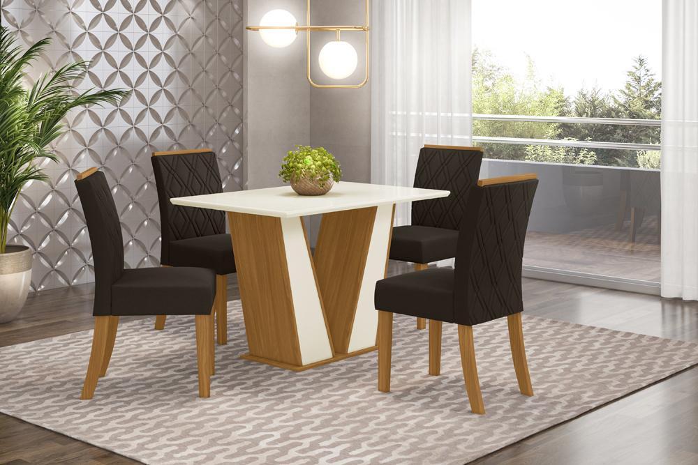Jogo de Mesa Garda 1200 e 4 Cadeiras Vita Nature/Marrom - FdECOR