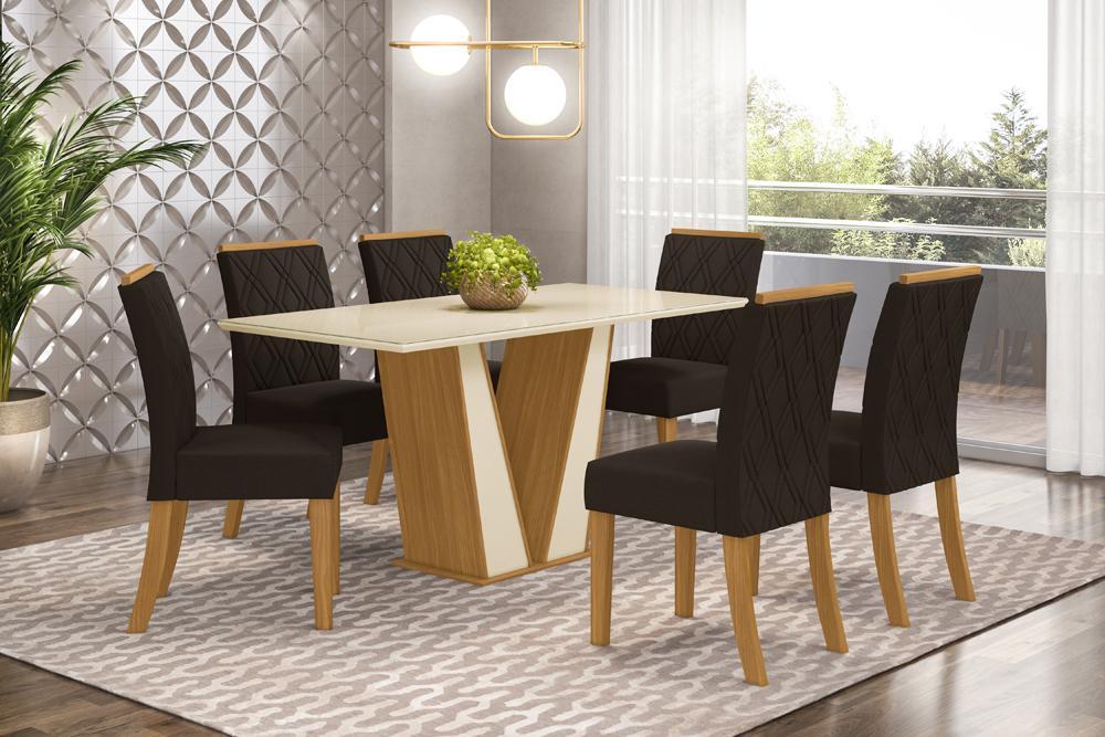 Jogo de Mesa Garda 1600 e 6 Cadeiras Vita Nature/Marrom - FdECOR